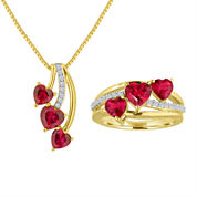 Lab Created Ruby And White Sapphire In 14K Gold Over Silver Necklace or Ring