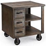 Industrial Wheeled End Table