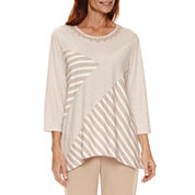 Alfred Dunner Just Peachy 3/4 Sleeve Crew Neck T-Shirt