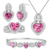 Lab-Created Pink Sapphire & Cubic Zirconia Sterling Silver Heart 4-pc. Boxed Jewelry Set
