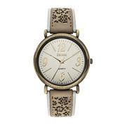 Decree® Womens Floral Cutout Strap Watch