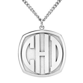 Personalized 27mm Block Monogram Pendant Necklace