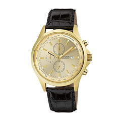 Citizen® Mens Champagne Dial Black Leather Strap Chronograph Watch AN3512-03P
