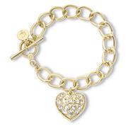 Liz Claiborne Gold-Tone Crystal Heart Charm Boxed Bracelet