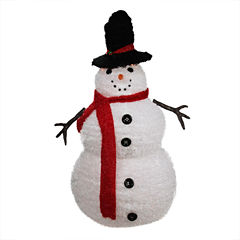 4' Lighted 3-D Chenille Winter Snowman with Top Hat Outdoor Yard Art