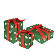 Set Of 3 Green Snowflake Sisal Gift Boxes LightedYard Arts