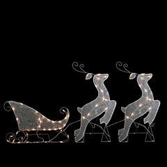 3-Piece White Glittered Reindeer & Sleigh LightedYard Art Set