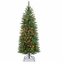 National Tree Co. 4 1/2 Foot Kingswood Fir Hinged Pencil Pre-Lit Christmas Tree