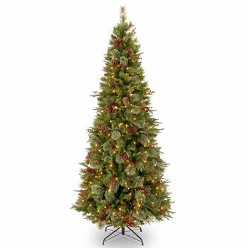 National Tree Co 7 12 Foot Feel real Colonial Slim Hinged Pre lit Christmas Tree
