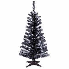 National Tree Co. 4 Foot Black Tinsel Pre-Lit Christmas Tree