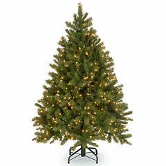 National Tree Co. 4 1/2 Foot Downswept Douglas Fir Hinged Pre-Lit Christmas Tree