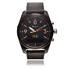 Martian Mens mVoice PT 02 Black Leather Band Black Dial Smart Watch-Mvr03pt021