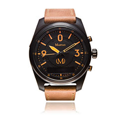 Martian Mens mVoice PTL 02 Brown Leather Band Black Dial Smart Watch-MVR03PL031