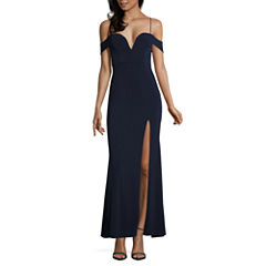 City Triangle Short Sleeve Fitted Gown-Juniors