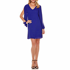 Worthington Long Sleeve Shift Dress-Talls