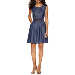 Alyx Short Sleeve Pleat Neck Belted Fit & Flare Dress-Petites