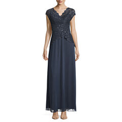 Blu Sage Short Sleeve Sequin Lace Bodice Evening Gown-Petites