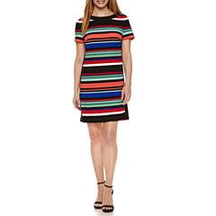 London Times Short Sleeve Shift Dress-Petites