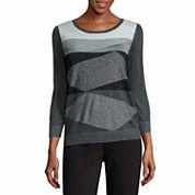 Liz Claiborne Lurex Plaited Pullover Sweater-Talls