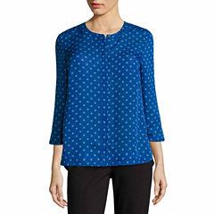 Liz Claiborne 3/4 Sleeve Y Neck Woven Dots Blouse-Talls