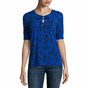 Liz Claiborne Short Sleeve Y Neck T-Shirt-Talls