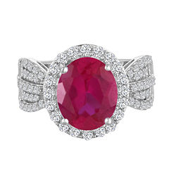 Womens Red Lab-Created  Ruby Cocktail Ring in Sterling Silver
