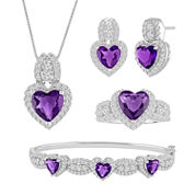 Lab-Created Amethyst & Cubic Zirconia Silver over Brass Heart 4-pc. Boxed Jewelry Set