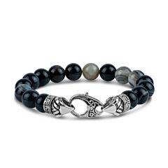 Mens Multi Color Agate Stainless Steel Beaded Bracelet