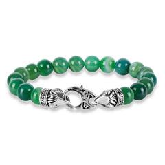 Mens Green Agate Stainless Steel Beaded Bracelet