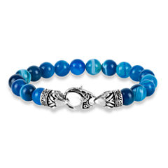 Mens Blue Agate Stainless Steel Beaded Bracelet