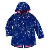 Pink Platinum Girls Hooded Shiny Raincoat
