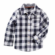 Oshkosh Boys Long Sleeve Navy Check T-Shirt-Toddler