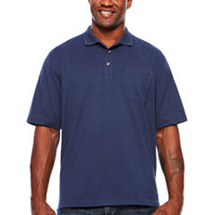 Van Heusen Short Sleeve Striped Jacquard Knit Polo- Big & Tall