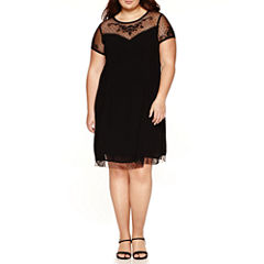City Triangle Short Sleeve A-Line Dress-Juniors Plus