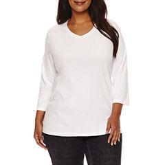 St. John's Bay 3/4 Sleeve V Neck T-Shirt-Plus