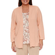 Alfred Dunner Just Peachy 3/4 Sleeve Crew Neck Layered Sweaters-Plus