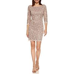 Tiana B 3/4 Sleeve Sequin Lace Sheath Dress-Petites
