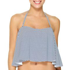 Arizona Stripe Flounce Swimsuit Top-Juniors