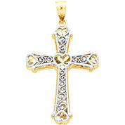 14K Two-Tone Gold Heart Cross Pendant