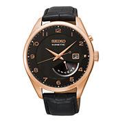Seiko® Mens Black Leather Strap Kinetic Watch SRN054