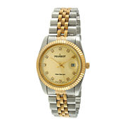 Peugeot® Mens Crystal-Accent Coin-Edge Bezel Two-Tone Stainless Steel Watch