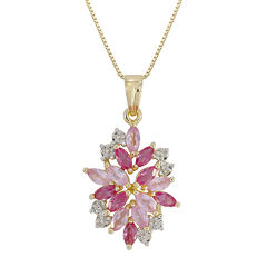 Lab-Created Ruby, Pink & White Sapphire Flower Pendant Necklace in 14K Gold over Silver