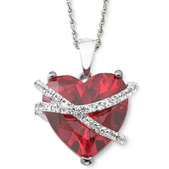 Lab-Created Ruby & White Sapphire Crossover Heart Pendant Necklace in Sterling Silver