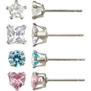Girls Sterling Silver Cubic Zirconia 4-pr. Earring Set