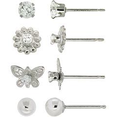 Girls Cubic Zirconia Butterfly & Flower 4-pr. Earring Set
