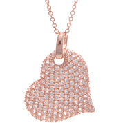 Cubic Zirconia 14K Rose Gold Over Brass Heart Pendant Necklace