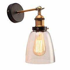 Warehouse Of Tiffany Barbara 1-light Clear Glass Edison Wall Lamp with Light Bulb