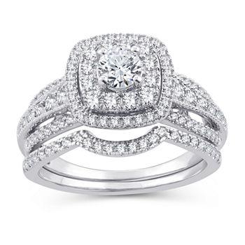 Womens 1 Ct Tw Genuine White Diamond 10k White Gold Engagement Ring