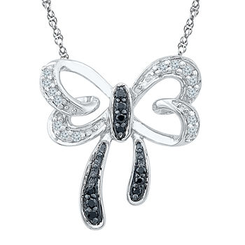 Womens Genuine Black Diamond Sterling Silver Pendant Necklace