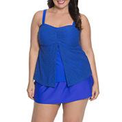 Aqua Couture Solid Bandeau Swimsuit Top or Swim Shorts-Plus